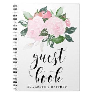 Rosas rosados dulces de la acuarela que casan el libro de apuntes con espiral