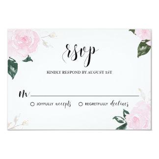 """Rosas rosados dulces de la acuarela que casan RSVP Invitación 3.5"""" X 5"""""""