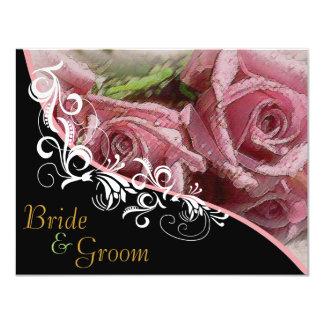 """Rosas rosados - el casarse echado a un lado 2 invitación 4.25"""" x 5.5"""""""