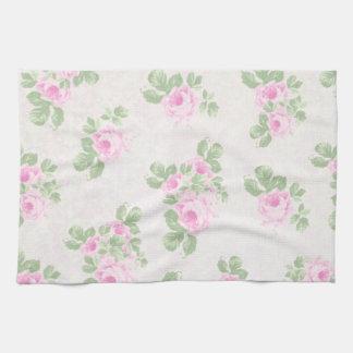 Rosas rosados elegantes florales del vintage toallas de cocina