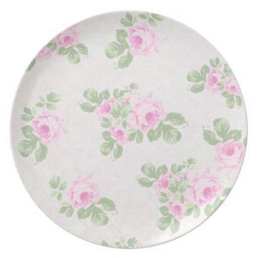 Rosas rosados elegantes florales del vintage plato
