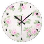 Rosas rosados elegantes florales del vintage reloj redondo grande