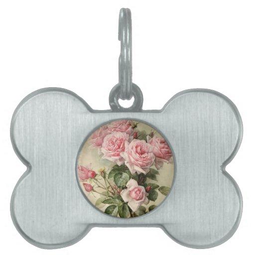Rosas rosados elegantes lamentables del Victorian Placa De Nombre De Mascota