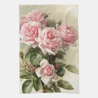 Rosas rosados elegantes lamentables del Victorian Toalla De Cocina