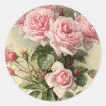 Rosas rosados elegantes lamentables del Victorian Pegatina Redonda