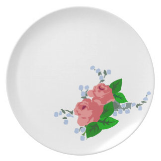 Rosas rosados elegantes lamentables platos para fiestas