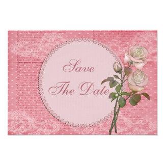 Rosas rosados elegantes lamentables que casan rese invitación