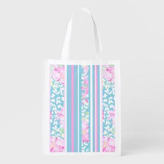 Rosas rosados elegantes, rayas de la turquesa: bolsa reutilizable