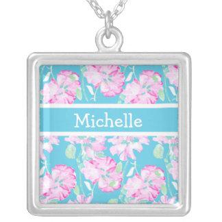 Rosas rosados en el collar del personalizado de la