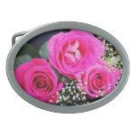 Rosas rosados en el negro I Hebillas De Cinturon Ovales