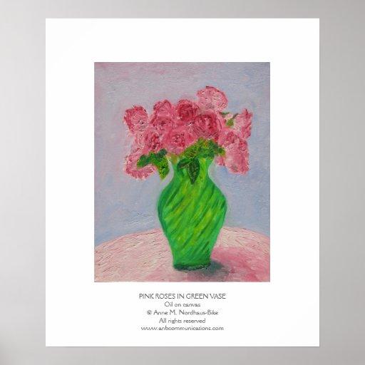 Rosas rosados en florero verde impresiones