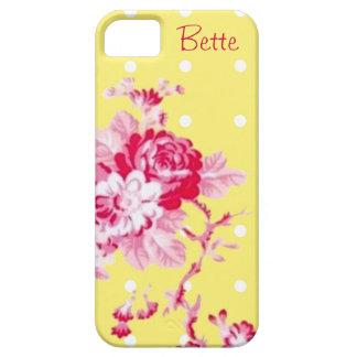 Rosas rosados en la caja amarilla del iPhone 5 Funda Para iPhone SE/5/5s