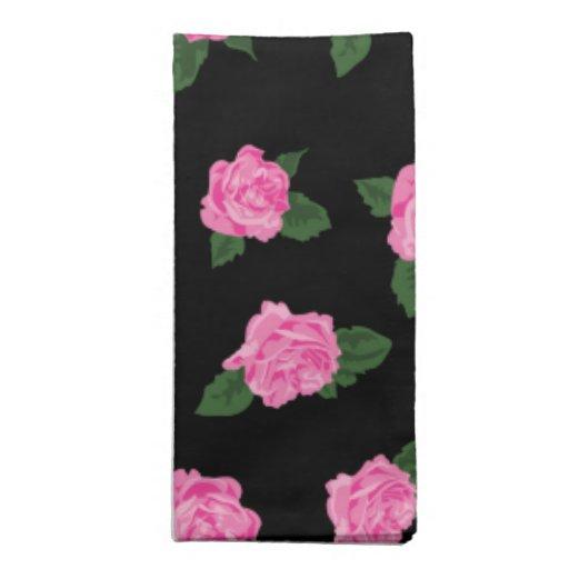 Rosas rosados en negro servilletas
