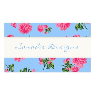 Rosas rosados en tarjetas de visita florales azule
