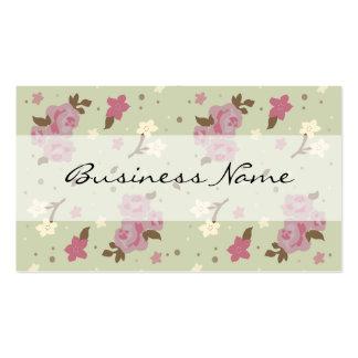 Rosas rosados en tarjetas de visita florales verde
