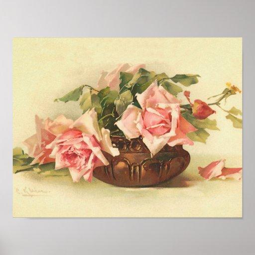 Rosas rosados en un cuenco por el poster de Cather