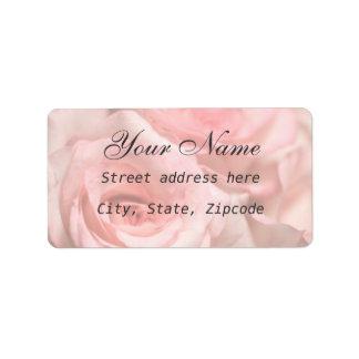 Rosas rosados etiqueta de dirección