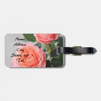 Rosas rosados etiquetas bolsa