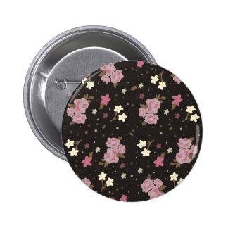 Rosas rosados florales del vintage en marrón oscur pin