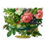 Rosas rosados florales del vintage, florero de flo tarjeta postal