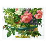 Rosas rosados florales del vintage, florero de invitaciones personales