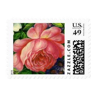 Rosas rosados florales del vintage, florero de sellos postales