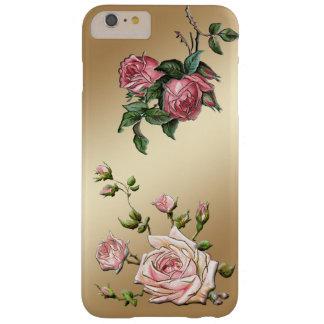 Rosas rosados grabados en relieve elegantes en funda de iPhone 6 plus barely there