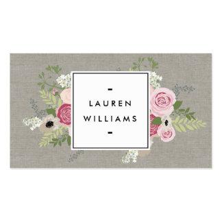 Rosas rosados hermosos en la elegancia moderna de tarjetas de visita