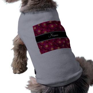 Rosas rosados marrón conocidos personalizados camiseta de perro