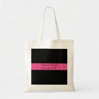 Rosas rosados negros que casan favores bolsas