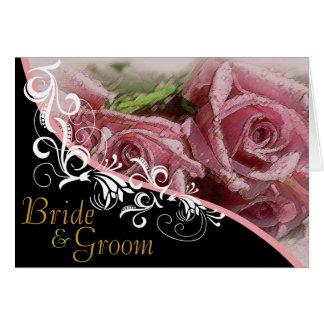 Rosas rosados novia y invitación de boda del novio tarjeta de felicitación