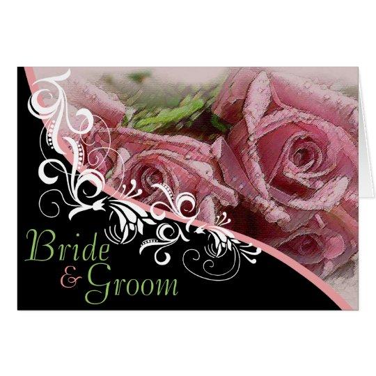 Rosas rosados novia y invitación de boda del novio tarjeta pequeña