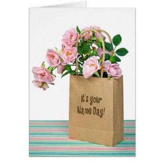 Rosas rosados para el día conocido tarjeta de felicitación