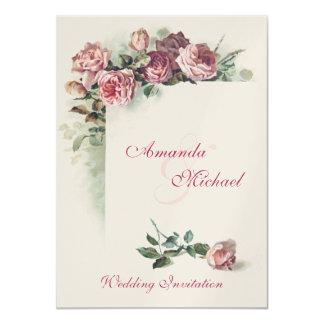 Rosas rosados que casan la invitación