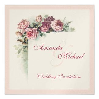 Rosas rosados que casan la invitación invitación 13,3 cm x 13,3cm