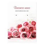 Rosas rosados que pintan tarjetas del pendiente de plantillas de tarjeta de negocio