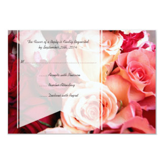 Rosas rosados románticos bonitos que casan RSVP Invitación 8,9 X 12,7 Cm