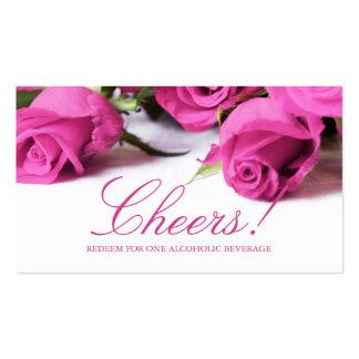 Rosas rosados románticos que casan el boleto de la tarjeta de visita