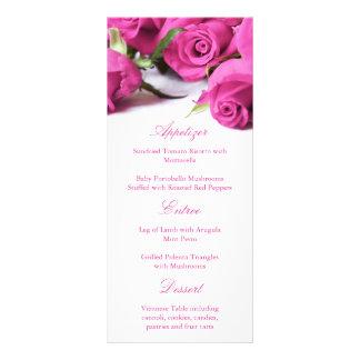 Rosas rosados románticos que casan el menú lona publicitaria