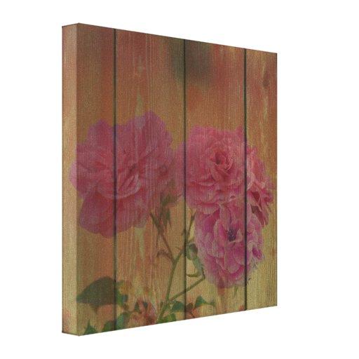 Rosas rosados rústicos inspirados impresión de lienzo