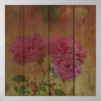 Rosas rosados rústicos inspirados póster