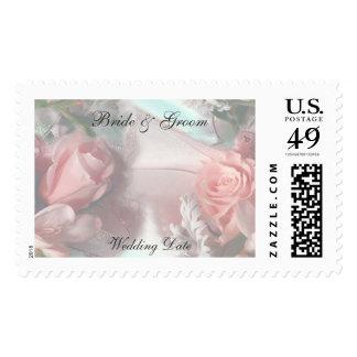 Rosas rosados suaves que casan el sello