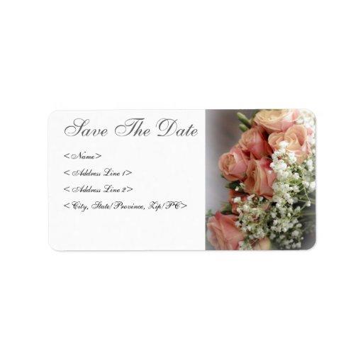 Rosas rosados suaves y boda de la respiración del  etiqueta de dirección