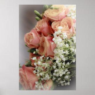 Rosas rosados suaves y la respiración del bebé poster