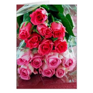 Rosas rosados tarjeta de felicitación