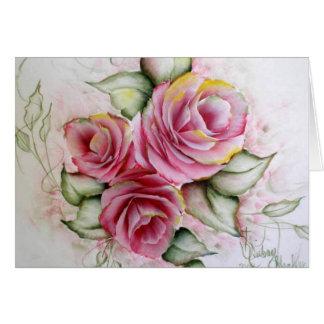 Rosas rosados tarjeta pequeña