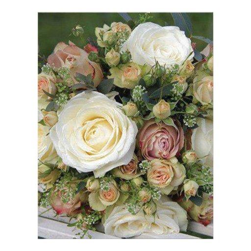 rosas rosados y blancos plantilla de membrete