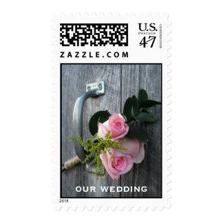 Rosas rosados y boda de Barnwood Sellos