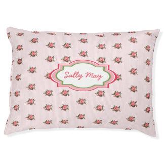 Rosas rosados y cama personalizada rayas del cama para perro grande