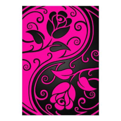Rosas rosados y negros de Yin Yang Anuncios